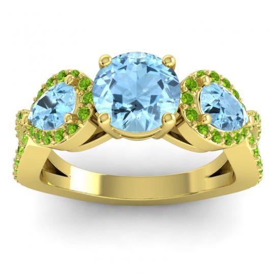 Three Stone Pave Varsa Aquamarine Ring with Peridot in 14k Yellow Gold