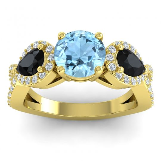 Three Stone Pave Varsa Aquamarine Ring with Black Onyx and Diamond in 18k Yellow Gold