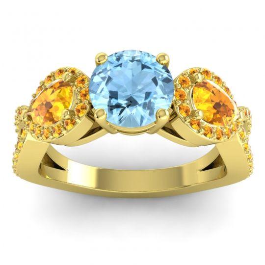 Three Stone Pave Varsa Aquamarine Ring with Citrine in 18k Yellow Gold