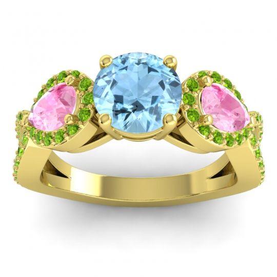 Three Stone Pave Varsa Aquamarine Ring with Pink Tourmaline and Peridot in 18k Yellow Gold