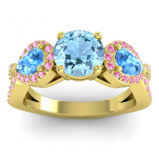 Three Stone Pave Varsa Aquamarine Ring with Swiss Blue Topaz and Pink Tourmaline in 14k Yellow Gold