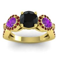 Three Stone Pave Varsa Black Onyx Ring with Amethyst and Garnet in 18k Yellow Gold