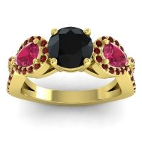 Three Stone Pave Varsa Black Onyx Ring with Ruby and Garnet in 14k Yellow Gold