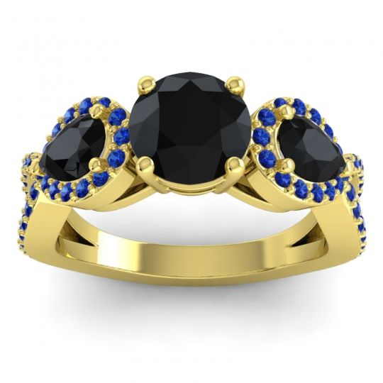 Three Stone Pave Varsa Black Onyx Ring with Blue Sapphire in 14k Yellow Gold
