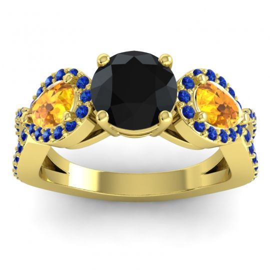 Three Stone Pave Varsa Black Onyx Ring with Citrine and Blue Sapphire in 14k Yellow Gold