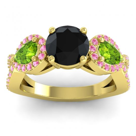 Three Stone Pave Varsa Black Onyx Ring with Peridot and Pink Tourmaline in 18k Yellow Gold