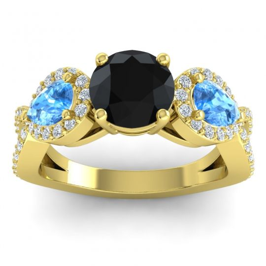 Three Stone Pave Varsa Black Onyx Ring with Swiss Blue Topaz and Diamond in 18k Yellow Gold