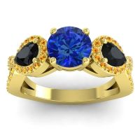 Three Stone Pave Varsa Blue Sapphire Ring with Black Onyx and Citrine in 14k Yellow Gold