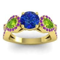 Three Stone Pave Varsa Blue Sapphire Ring with Peridot and Amethyst in 14k Yellow Gold