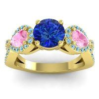 Three Stone Pave Varsa Blue Sapphire Ring with Pink Tourmaline and Aquamarine in 14k Yellow Gold