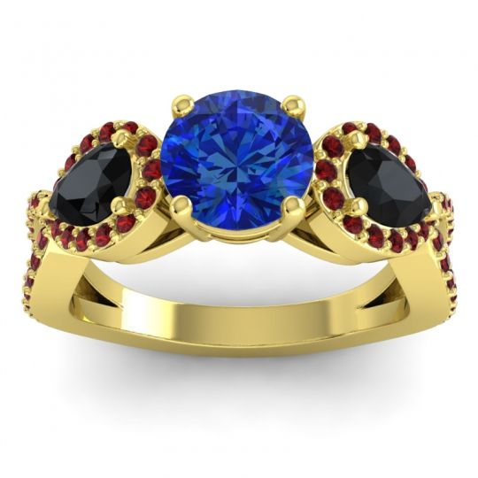Three Stone Pave Varsa Blue Sapphire Ring with Black Onyx and Garnet in 14k Yellow Gold