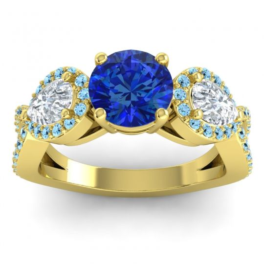 Three Stone Pave Varsa Blue Sapphire Ring with Diamond and Aquamarine in 14k Yellow Gold