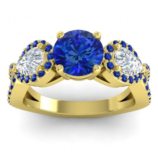 Three Stone Pave Varsa Blue Sapphire Ring with Diamond in 14k Yellow Gold
