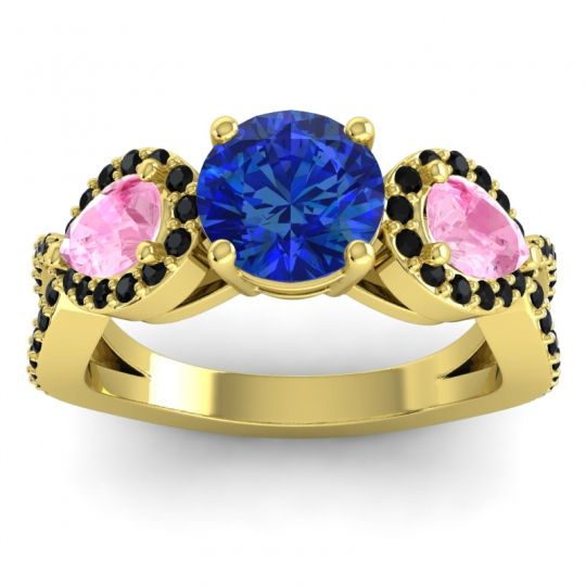 Three Stone Pave Varsa Blue Sapphire Ring with Pink Tourmaline and Black Onyx in 18k Yellow Gold