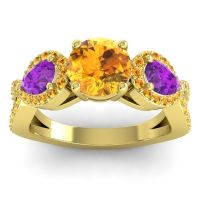 Three Stone Pave Varsa Citrine Ring with Amethyst in 18k Yellow Gold