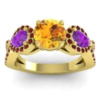 Three Stone Pave Varsa Citrine Ring with Amethyst and Garnet in 18k Yellow Gold