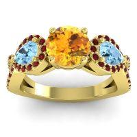 Three Stone Pave Varsa Citrine Ring with Aquamarine and Garnet in 14k Yellow Gold