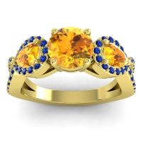 Three Stone Pave Varsa Citrine Ring with Blue Sapphire in 14k Yellow Gold
