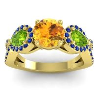 Three Stone Pave Varsa Citrine Ring with Peridot and Blue Sapphire in 14k Yellow Gold