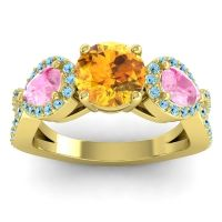 Three Stone Pave Varsa Citrine Ring with Pink Tourmaline and Aquamarine in 18k Yellow Gold