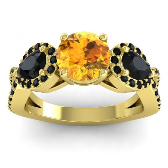 Three Stone Pave Varsa Citrine Ring with Black Onyx in 18k Yellow Gold