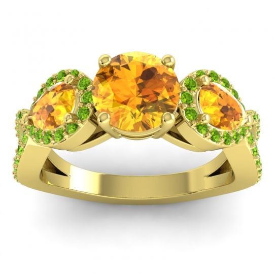 Three Stone Pave Varsa Citrine Ring with Peridot in 18k Yellow Gold