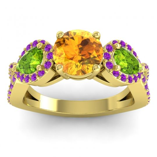 Citrine Three Stone Pave Varsa Ring with Peridot and Amethyst in 14k Yellow Gold