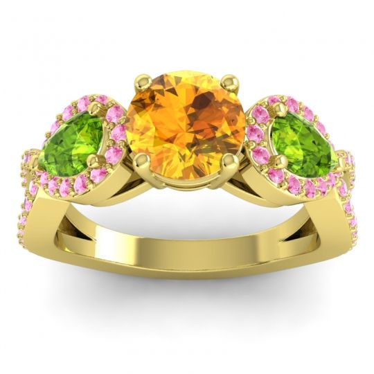 Citrine Three Stone Pave Varsa Ring with Peridot and Pink Tourmaline in 18k Yellow Gold