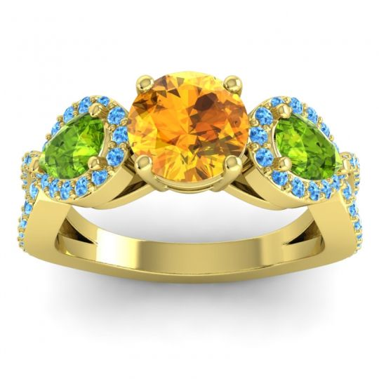 Citrine Three Stone Pave Varsa Ring with Peridot and Swiss Blue Topaz in 18k Yellow Gold