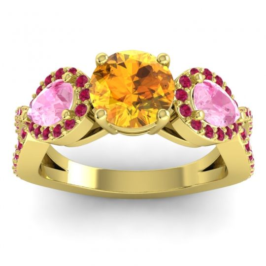 Citrine Three Stone Pave Varsa Ring with Pink Tourmaline and Ruby in 18k Yellow Gold