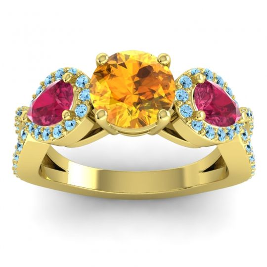 Citrine Three Stone Pave Varsa Ring with Ruby and Aquamarine in 18k Yellow Gold