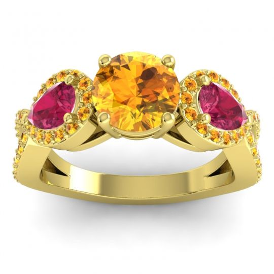 Three Stone Pave Varsa Citrine Ring with Ruby in 14k Yellow Gold