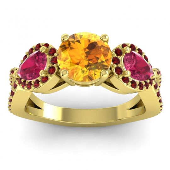 Citrine Three Stone Pave Varsa Ring with Ruby and Garnet in 14k Yellow Gold