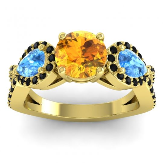 Citrine Three Stone Pave Varsa Ring with Swiss Blue Topaz and Black Onyx in 18k Yellow Gold