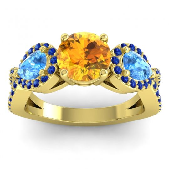 Citrine Three Stone Pave Varsa Ring with Swiss Blue Topaz and Blue Sapphire in 14k Yellow Gold