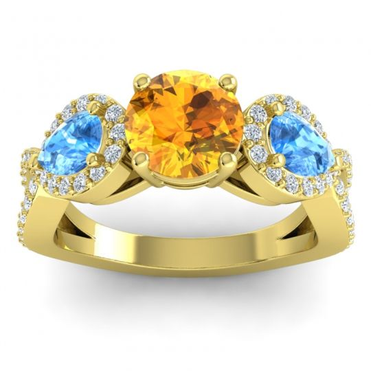 Citrine Three Stone Pave Varsa Ring with Swiss Blue Topaz and Diamond in 18k Yellow Gold