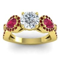 Three Stone Pave Varsa Diamond Ring with Ruby and Garnet in 14k Yellow Gold