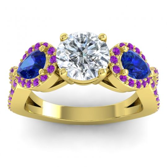 Three Stone Pave Varsa Diamond Ring with Blue Sapphire and Amethyst in 18k Yellow Gold