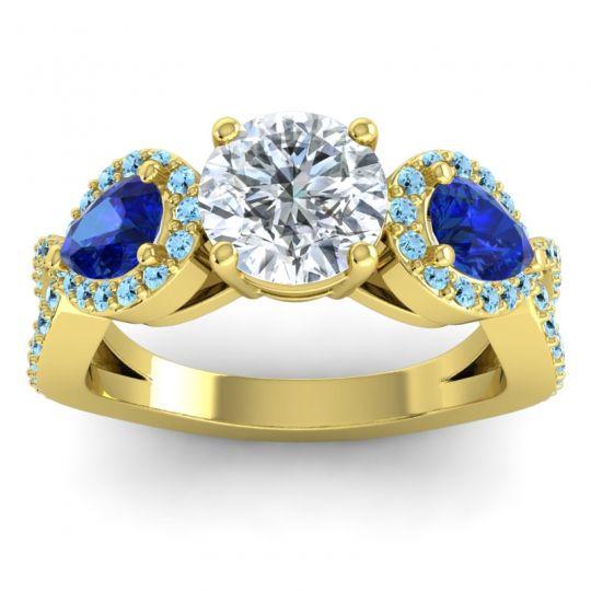 Three Stone Pave Varsa Diamond Ring with Blue Sapphire and Aquamarine in 14k Yellow Gold