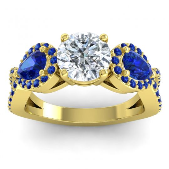 Three Stone Pave Varsa Diamond Ring with Blue Sapphire in 14k Yellow Gold
