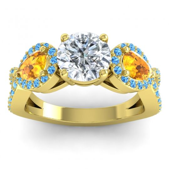 Three Stone Pave Varsa Diamond Ring with Citrine and Swiss Blue Topaz in 14k Yellow Gold