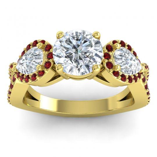 Three Stone Pave Varsa Diamond Ring with Garnet in 18k Yellow Gold