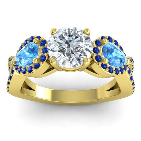 Three Stone Pave Varsa Diamond Ring with Swiss Blue Topaz and Blue Sapphire in 18k Yellow Gold