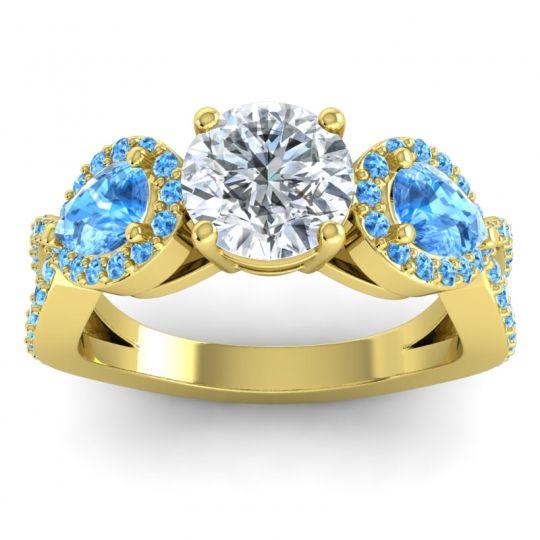 Three Stone Pave Varsa Diamond Ring with Swiss Blue Topaz in 18k Yellow Gold
