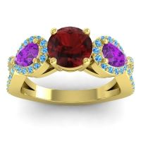 Three Stone Pave Varsa Garnet Ring with Amethyst and Swiss Blue Topaz in 14k Yellow Gold