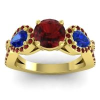 Garnet Three Stone Pave Varsa Ring with Blue Sapphire in 18k Yellow Gold