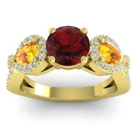 Three Stone Pave Varsa Garnet Ring with Citrine and Diamond in 14k Yellow Gold