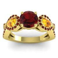Three Stone Pave Varsa Garnet Ring with Citrine in 18k Yellow Gold