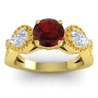 Three Stone Pave Varsa Garnet Ring with Diamond and Citrine in 18k Yellow Gold