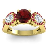 Three Stone Pave Varsa Garnet Ring with Diamond and Ruby in 18k Yellow Gold
